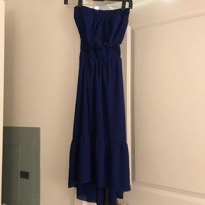 Blue strapless floaty dress
